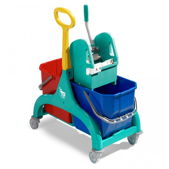 Light Tts cleaning trolley and flat mop set